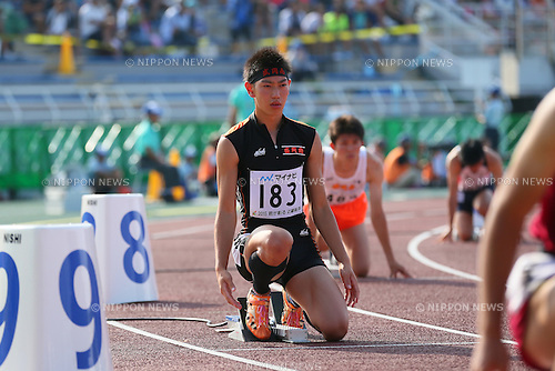 Manato Sasaki, JULY 29, 2015 - Athletics : 2015 All-Japan Inter High School Championships, Men's 400m Final at Kimiidera Athletic Stadium, Wakayama, Japan. (Photo by YUTAKA/AFLO SPORT)
