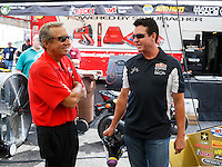 Aug 19, 2016; Brainerd, MN, USA; NHRA team owner Don Schumacher (left) with Papa Johns pizza founder John Schnatter during qualifying for the Lucas Oil Nationals at Brainerd International Raceway. Mandatory Credit: Mark J. Rebilas-USA TODAY Sports