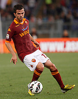 Calcio, Serie A: Roma vs Chievo Verona. Roma, stadio Olimpico, 7 maggio 2013..AS Roma midfielder Miralem Pjanic, of Bosnia, in action during the Italian Serie A football match between AS Roma and ChievoVerona at Rome's Olympic stadium, 7 May 2013..UPDATE IMAGES PRESS/Riccardo De Luca