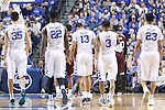 Kentucky players enter the game after a timeout during the game against the Mississippi State Bulldogs at Rupp Arena on January 20, 2015 in Lexington, Kentucky. Photo by Taylor Pence