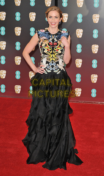 Emily Blunt at the EE British Academy Film Awards (BAFTAs) 2017, Royal Albert Hall, Kensington Gore, London, England, UK, on Sunday 12 February 2017.<br /> CAP/CAN<br /> &copy;CAN/Capital Pictures