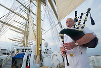 Captain Klaus - who owns a house in Scotland - is blowing the bagpipes every evening aboard the Royal Clipper.