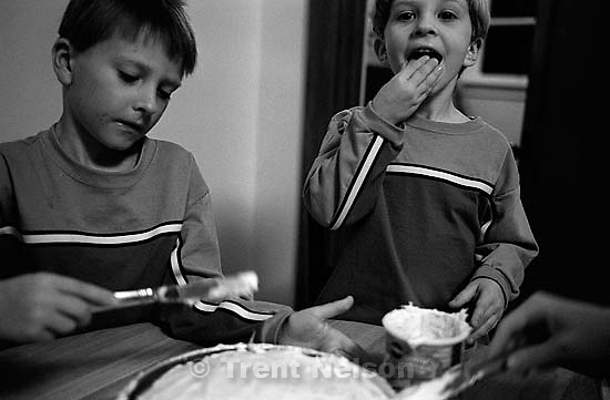 Noah Nelson and Nathaniel Nelson with their birthday cake. 03/03/3003<br />