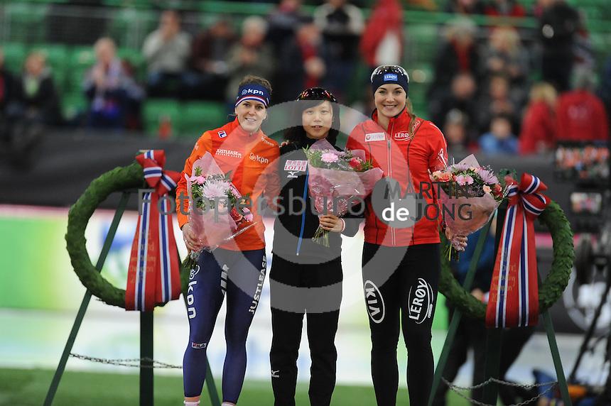 SPEED SKATING: HAMAR: Vikingskipet, 04-03-2017, ISU World Championship Allround, Podium 500m Ladies, Ireen Wüst (NED), Miho Takagi (JPN), Ida Njåtun (NOR), ©photo Martin de Jong