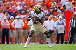 Kendall Hinton (2) of the Wake Forest Demon Deacons drops back to pass during first half action against the Clemson Tigers at Memorial Stadium on October 7, 2017 in Clemson, South Carolina.  The Tigers defeated the Demon Deacons 28-14. (Brian Westerholt/Sports On Film)