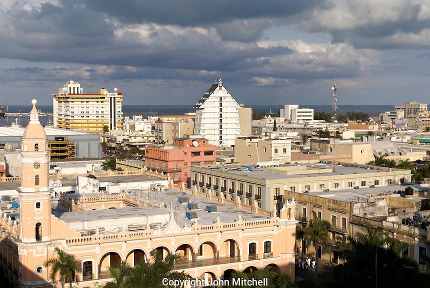 Aerial shot of downton Veracruz city, Mexico