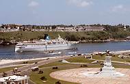 June, 1977. Havana, Cuba. Eighteen years after the Cuban Revolution the first U.S. tourists were permitted to visit Havana. Arriving on the Daphne in Bocca Del Torro, the entrance of the Havana Harbor.