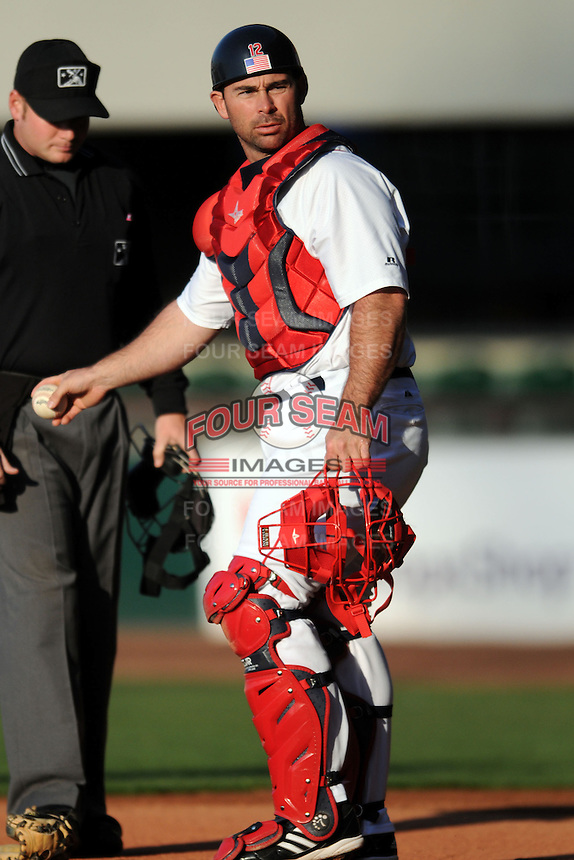 Pawtucket Red Sox catcher Dan Butler #12 during a game versus the Columbus Clippers at McCoy Stadium in Pawtucket, Rhode Island on April 27, 2013.  (Ken Babbitt/Four Seam Images)