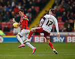 Ruben Lameiras of Coventry City tackled by Martyn Woolford of Sheffield Utd - English League One - Sheffield Utd vs Coventry City - Bramall Lane Stadium - Sheffield - England - 13th December 2015 - Pic Simon Bellis/Sportimage-