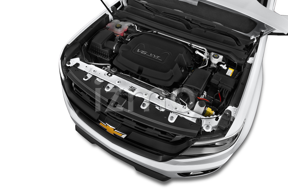 Car Stock 2017 Chevrolet Colorado Z71 Crew Cab 4 Door Pick Up Engine high angle detail view