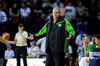 Jets coach Tim Mctamney during the national basketball league match between Cigna Wellington Saints and Manawatu Jets at TSB Bank Arena in Wellington, New Zealand on Sunday, 16 June 2019. Photo: Dave Lintott / lintottphoto.co.nz