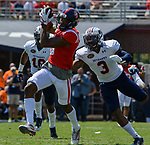 DaMarkus Lodge catches a pass before being tackled during the game against UT Martin Sat., Sept. 9, 2017. Ole Miss wins 45-23. Photo by Marlee Crawford/Ole Miss Communications