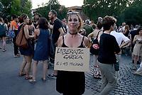 Roma, 29 Giugno 2019<br /> Piazza dell'Esquilino,  manifestazione per chiedere la liberazione della capitana della Sea Watch, Carola Rackete, dopo il suo arresto, e contro il decreto sicurezza di Salvini