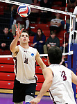 KENOSHA, WI - APRIL 28:  Springfield College setter Mike Neary puts up a one handed set during the Division III Men's Volleyball Championship held at the Tarble Athletic and Recreation Center on April 28, 2018 in Kenosha, Wisconsin. (Photo by Steve Woltmann/NCAA Photos via Getty Images)