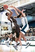 WASHINGTON, DC - JANUARY 5: Kyle Lofton #0 of St. Bonaventure lobs a shot over Jameer Nelson Jr. #12 of George Washington during a game between St. Bonaventure University and George Washington University at Charles E Smith Center on January 5, 2020 in Washington, DC.