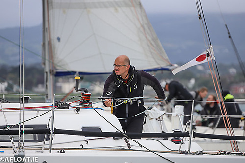 Sailing doublehanded with Mark McGibney, Royal Irish skipper Andrew Algeo (above) was second overall in the 50-miler Photo: Afloat