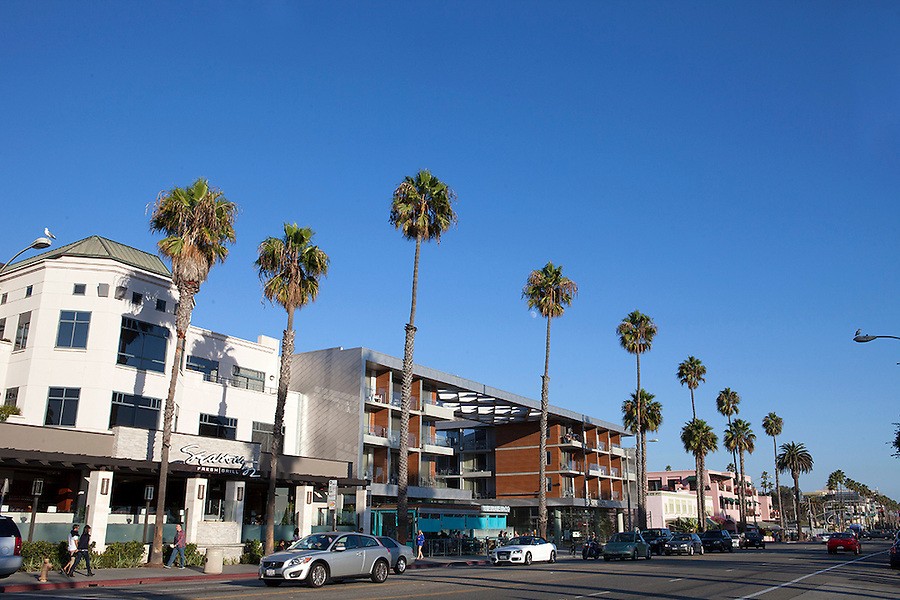Shops and restaurants in Santa Monica, California, CA, USA