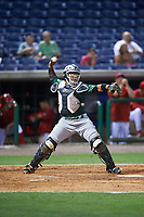 Daytona Tortugas catcher Chad Tromp (4) throws down to second base during a game against the Clearwater Threshers on April 19, 2016 at Bright House Field in Clearwater, Florida.  Clearwater defeated Daytona 4-1.  (Mike Janes/Four Seam Images)