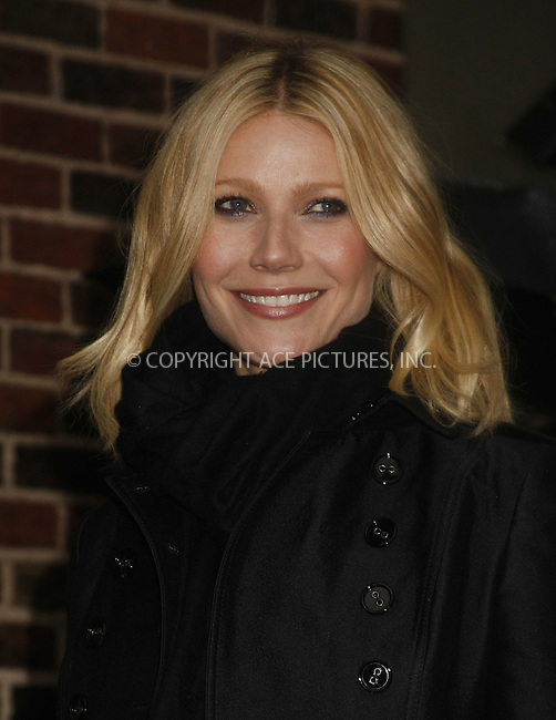 WWW.ACEPIXS.COM . . . . .  ....April 28 2008, New York City....Actress Gwyneth Paltrow made an appearance at the 'Late Show with David Letterman' at the Ed Sullivan Theatre in midtown Manhattan.....Please byline: AJ Sokalner - ACEPIXS.COM..... *** ***..Ace Pictures, Inc:  ..te: (646) 769 0430..e-mail: info@acepixs.com..web: http://www.acepixs.com