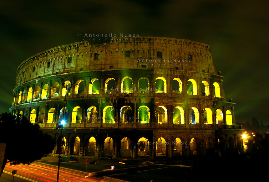 The Roman Colosseum light up to support a campaign by Italy for a United Nations moratorium on the death penalty.