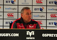 Scarlets' Head Coach Wayne Pivac during the post match interview <br /> <br /> Photographer Ashley Crowden/CameraSport<br /> <br /> Guinness Pro14 Round 6 - Ospreys v Scarlets - Saturday 7th October 2017 - Liberty Stadium - Swansea<br /> <br /> World Copyright &copy; 2017 CameraSport. All rights reserved. 43 Linden Ave. Countesthorpe. Leicester. England. LE8 5PG - Tel: +44 (0) 116 277 4147 - admin@camerasport.com - www.camerasport.com