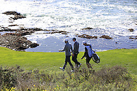 Jordan Spieth and Dustin Johnson (USA) walk off the 7th tee at Pebble Beach Golf Links during Saturday's Round 3 of the 2017 AT&amp;T Pebble Beach Pro-Am held over 3 courses, Pebble Beach, Spyglass Hill and Monterey Penninsula Country Club, Monterey, California, USA. 11th February 2017.<br /> Picture: Eoin Clarke | Golffile<br /> <br /> <br /> All photos usage must carry mandatory copyright credit (&copy; Golffile | Eoin Clarke)