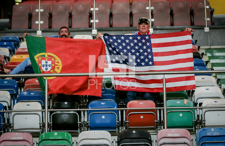 Leiria, Portugal - Tuesday November 14, 2017: USA & Portugal supporters during an International friendly match between the United States (USA) and Portugal (POR) at Estádio Dr. Magalhães Pessoa.