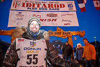 Matthew Failor in the finish chute in Nome during the 2017 Iditarod on Saturday March 18, 2017.<br /> <br /> Photo by Jeff Schultz/SchultzPhoto.com  (C) 2017  ALL RIGHTS RESERVED