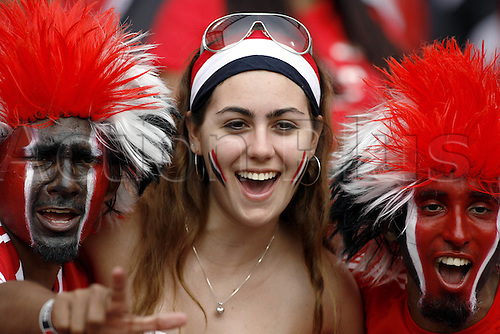 15 June 2006: Trinidad and Tobago supporter in the crowd before the Fifa World Cup Group B match between England and Trinidad and Tobago played at the Franken-Stadion, Nuremberg. England won the game 2-0. Photo: Neil Tingle/actionplus...060615 football soccer fan supporter