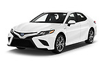 2019 Toyota Camry Hybrid SE 4 Door Sedan angular front stock photos of front three quarter view