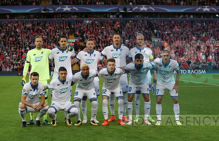 Hoffenheim team group during the Champions League playoff round at the Anfield Stadium, Liverpool. Picture date 23rd August 2017. Picture credit should read: Lynne Cameron/Sportimage
