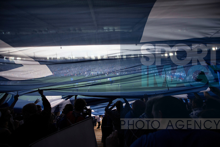 A general view of the King Power Stadium through a flag during the Barclays Premier League match at the King Power Stadium.  Photo credit should read: David Klein/Sportimage