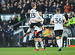 Derby County goal scorer Matej Vydra celebrates with team mate David Nugent during the championship league match between Derby and Millwall at Pride Park Stadium, Derby. Picture date 23rd December 2017. Picture credit should read: Joe Perch/Sportimage