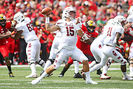 College Park, MD - September 15, 2018:  Temple Owls quarterback Anthony Russo (15) throws a pass during the game between Temple and Maryland at  Capital One Field at Maryland Stadium in College Park, MD.  (Photo by Elliott Brown/Media Images International)