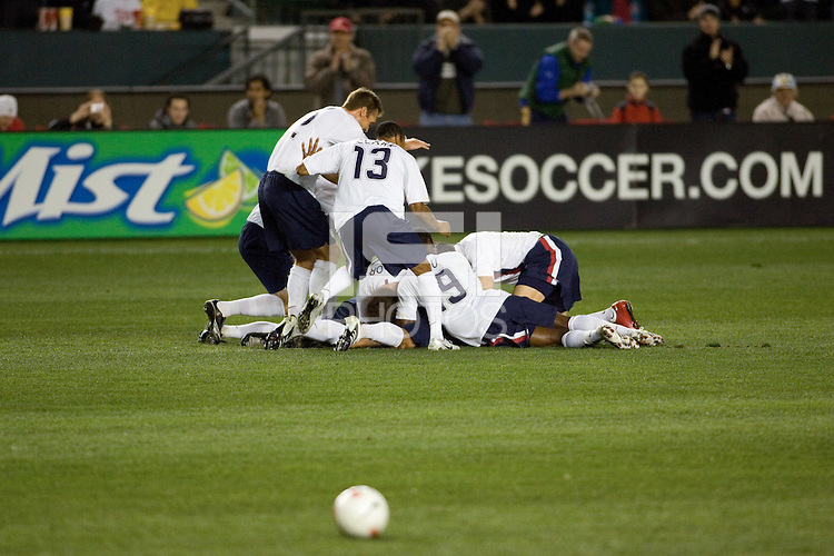 USA Mens National Team  celebrates after scoring the first goal of the game against Sweden. USA defeated Sweden 2-0 during a International friendly match at the Home Depot Center in Carson Calif., on Saturday, January 19, 2008.