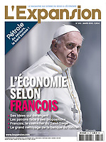 L'expansion France Magazine,Pope Francis.<br /> March, 2015<br /> Photograph by Stefano Spaziani.