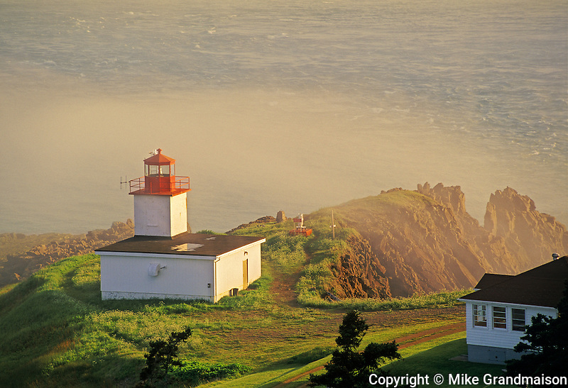 Cape d&rsquo;Or Lighthouse on the Bay of Fundy in fog<br /> Advocate Harbour<br /> Nova Scotia<br /> Canada