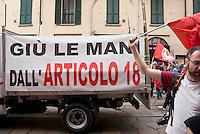 """Milano, """"Occupyamo Piazza Affari"""", manifestazione di protesta di partiti e organizzazioni di estrema sinistra contro la crisi economica e i provvedimenti messi in atto dal governo. Articolo 18 --- Milan, """"Occupy Piazza Affari"""", demonstration of  extreme left parties and organizations to protest against the  economic crisis and the Government"""