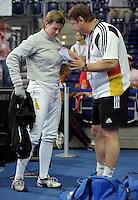 European Championships Fencing 2010 / Fecht Europameisterschaft 2010 in Leipzig - Competition Championat d'europe - im Bild: Damen Säbel women sabre - Stefanie Kubissa (GER) after losing her match - unsatisfied  . Foto: Norman Rembarz..Norman Rembarz , Autorennummer 41043728 , Augustenstr. 2, 04317 Leipzig, Tel.: 01794887569, Hypovereinsbank: BLZ: 86020086, KN: 357889472, St.Nr.: 231/261/06432 - Jegliche kommerzielle Nutzung ist honorar- und mehrwertsteuerpflichtig! Persönlichkeitsrechte sind zu wahren. Es wird keine Haftung übernommen bei Verletzung von Rechten Dritter. Autoren-Nennung gem. §13 UrhGes. wird verlangt. Weitergabe an Dritte nur nach  vorheriger Absprache..