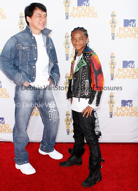 Jaden Smith & Jackie Chan at the 2010 MTV Movie Awards held at The Gibson Ampitheatre in Universal City, California on June 06,2010                                                                               © 2010 Debbie VanStory / Hollywood Press Agency