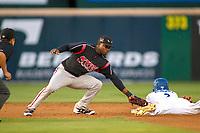 Lake Elsinore Storm Ruddy Giron (2) applies a tag on Rancho Cucamonga Quakes Jeren Kendall (3) during the game against the Rancho Cucamonga Quakes at LoanMart Field on April 20, 2018 in Rancho Cucamonga, California. The Quakes defeated the Storm 7-5.  (Donn Parris/Four Seam Images)