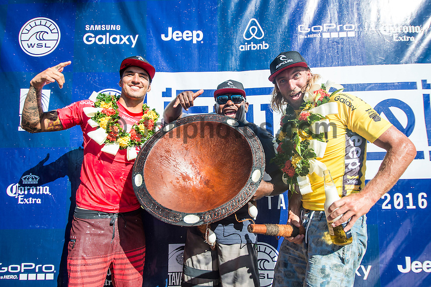 Namotu Island Resort, Nadi, Fiji (Friday, June 17 2016):   Gabriel Medina (BRA)  Matt Wilkinson (AUS) - The Fiji Pro, stop No. 5 of 11 on the 2016 WSL Championship Tour, wrapped up today at Cloudbreak with a consistent SSW swell in the 6'-8' range. Gabriel Medina (BRA)  took out the final over fellow goofy footer and ratings leader Matt Wilkinson (AUS). <br /> Medina has won twice in the last three years. The contest was completed in perfect conditions with a number of rides in the excellent range. Photo: joliphotos.com