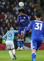 Manchester City 's Brahim Diaz putting pressure on Leicester City's Hamza Choudhury<br /> <br /> Photographer Andrew Kearns/CameraSport<br /> <br /> English League Cup - Carabao Cup Quarter Final - Leicester City v Manchester City - Tuesday 18th December 2018 - King Power Stadium - Leicester<br />  <br /> World Copyright &copy; 2018 CameraSport. All rights reserved. 43 Linden Ave. Countesthorpe. Leicester. England. LE8 5PG - Tel: +44 (0) 116 277 4147 - admin@camerasport.com - www.camerasport.com