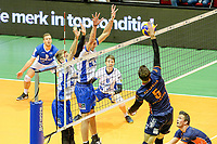 GRONINGEN - Volleybal, Lycurgus - Achterhoek Orion, final playoff 1 seizoen 2018-2019,  21-04-2019, Orion speler Joris Marcelis tikt de bal langs het blok