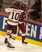 Brenden Kotyk (UMD - 10), Luke Esposito (Harvard - 9) - The University of Minnesota Duluth Bulldogs defeated the Harvard University Crimson 2-1 in their Frozen Four semi-final on April 6, 2017, at the United Center in Chicago, Illinois.
