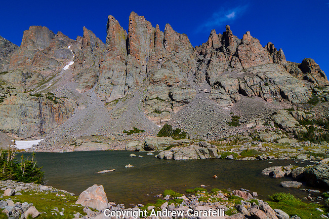 Surrounded by the Cathedral Spires, Sky Pond sits high in Glacier Gorge in Rocky Mountain National Park, Colorado.