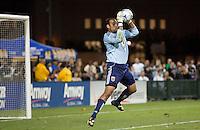 Josh Wicks saves the ball. The San Jose Earthquakes tied DC United 2-2 at Buck Shaw Stadium in Santa Clara, California on July 25, 2009.