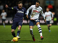 Preston North End's Lukas Nmecha competing with Derby County's Richard Keogh  <br /> <br /> Photographer Andrew Kearns/CameraSport<br /> <br /> The EFL Sky Bet Championship - Preston North End v Derby County - Friday 1st February 2019 - Deepdale Stadium - Preston<br /> <br /> World Copyright © 2019 CameraSport. All rights reserved. 43 Linden Ave. Countesthorpe. Leicester. England. LE8 5PG - Tel: +44 (0) 116 277 4147 - admin@camerasport.com - www.camerasport.com