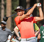 Steph Curry swings during the American Century Championship at Edgewood Tahoe Golf Course in Stateline, Nevada, Saturday, July 14, 2018.