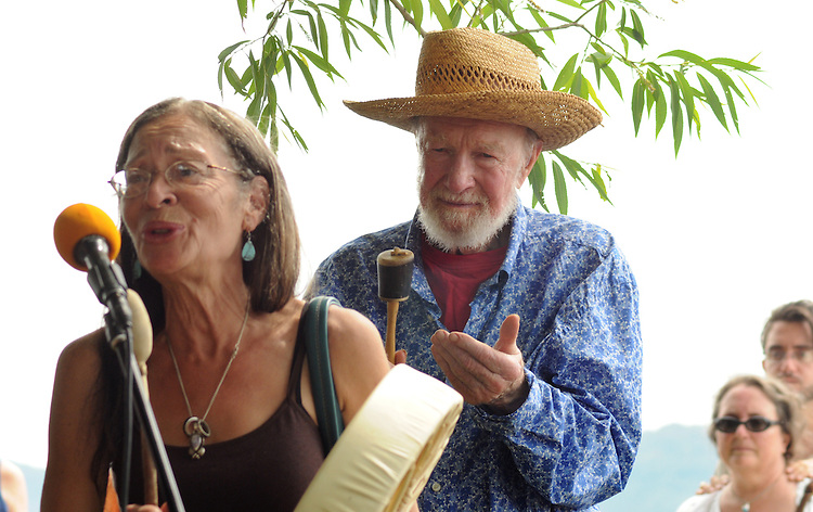 "Margo Thunderbird (of Shinnecock Nation) with Pete Seeger, conducting a ""River Blessing"" Ceremony near the Hudson River Shoreline during the Clearwater's Great Hudson River Revival Music & Environmental Festival 2011 at Croton Point Park, Croton-on-Hudson, NY on Saturday June 18, 2011. Photo copyright Jim Peppler/2011."